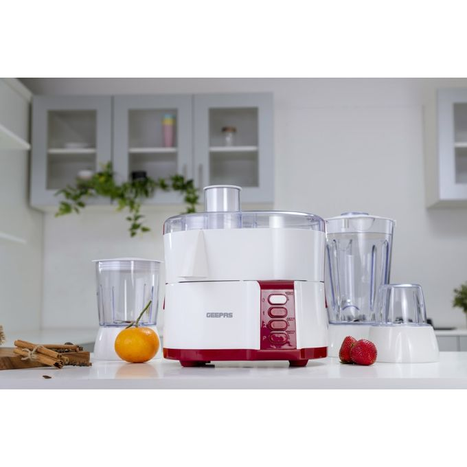 Geepas GSB9890 Multi-functional Food Processor With Safety Lock - White,Red