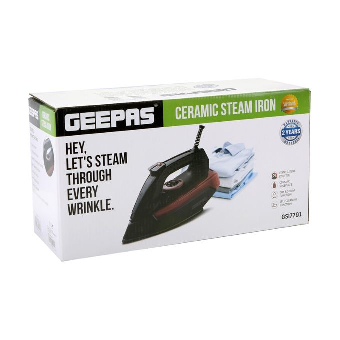 Geepas GSI7791 Steam Iron With Ceramic Plate - Black