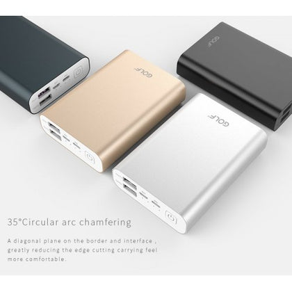 Golf Edge X3 10,000mAh QC 3.0 Quick Charge Power Bank - Silver