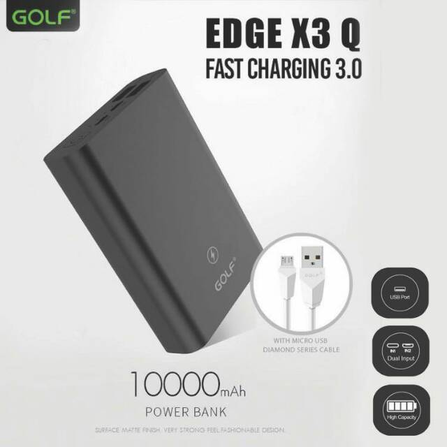 Golf Edge X3 10,000mAh QC 3.0 Quick Charge Power Bank - Black,White
