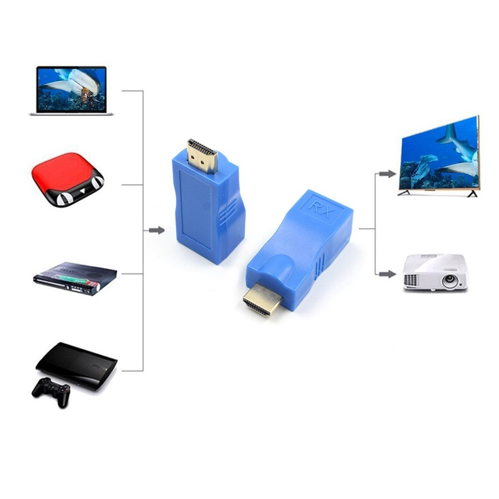 4K HDMI Extender Transmitter and Receiver Adapter RJ45 Cat6 Ethernet LAN 30m 1080p Adapter Converter for HDTV Hdpc