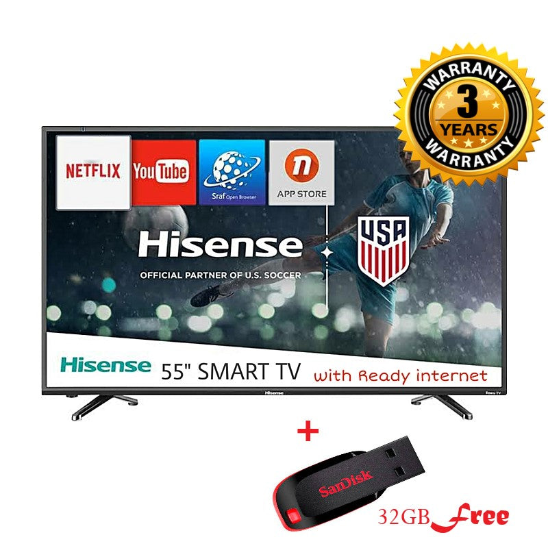Hisense 55'' UHD 7 Series 4K Vidaa Smart TV with Built-in WIFI-1080p, With Free view TV Play + Free 32GB Flash (2020 Model) - Black