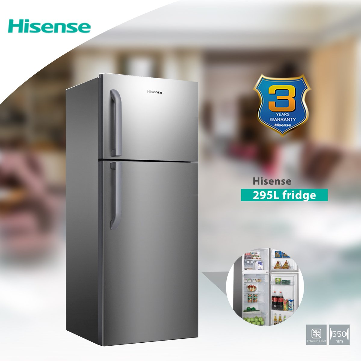 Hisense 295L Double Door Upper Mount Freezer Refrigerator - Silver