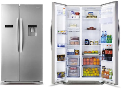 Hisense 670L Side by Side Inox Fridge With Dispenser