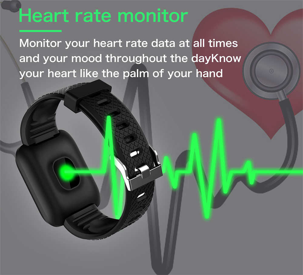 ID116plus Heart Rate Sports Unisex Fitness Tracking Smart Watch Bracelet - Purple