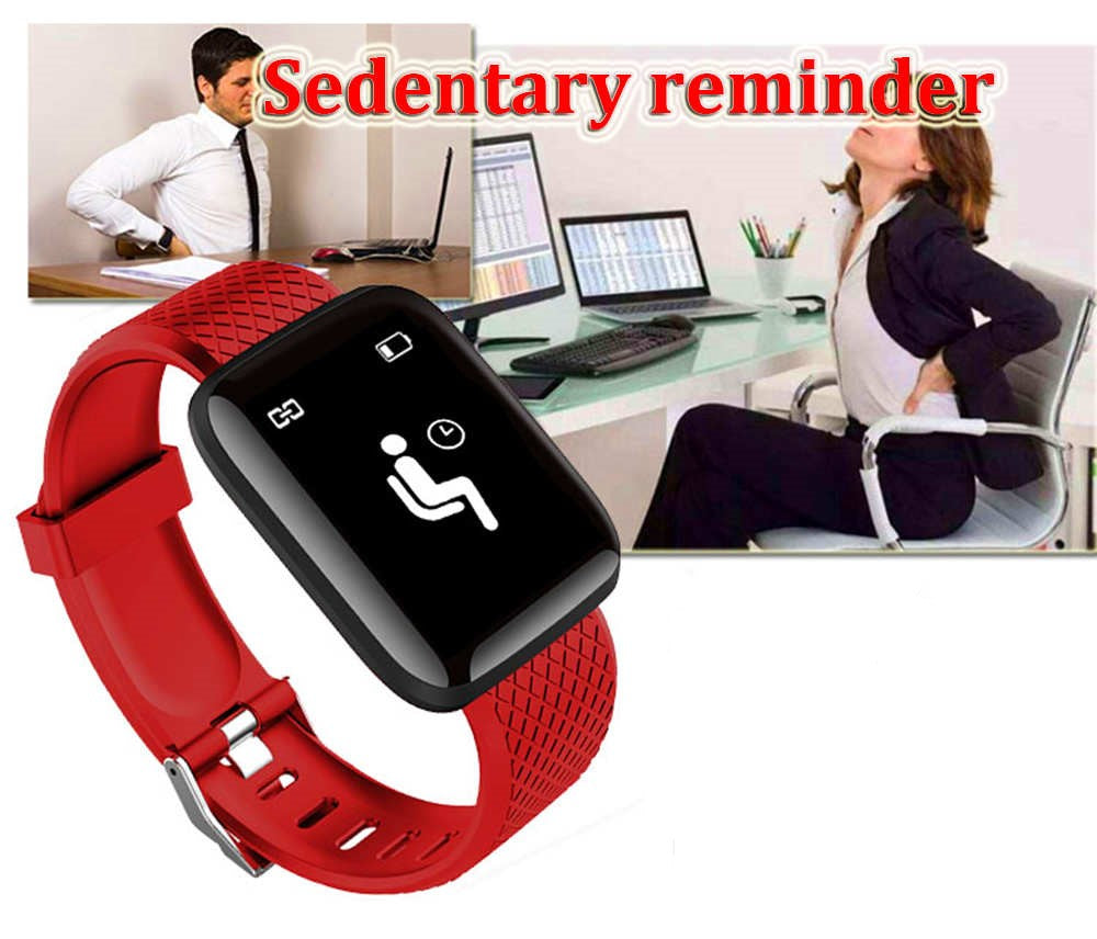 ID116plus Heart Rate Sports Unisex Fitness Tracking Smart Watch Bracelet - Red