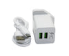 Generic Dual USB Fast Adaptive Charger With Micro USB Cable - White