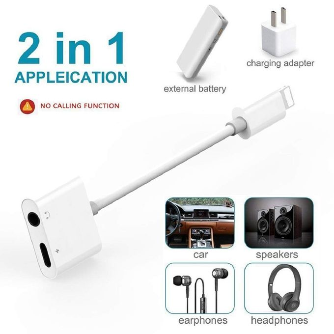 Adapter Jack Splitter Dual Adaptor for iPhone for iPhone 8 Audio and Charge Adapter for iPhone for iPhone 7/8Plus/XR/X/XS/XS max Earphones
