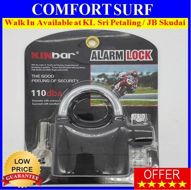 Kinbar Siren Coded 110db Zinc Alloy Hardened Alarm Padlock - Black