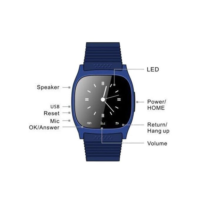 M26 Bluetooth Sport Unisex Wrist Smart Watch - Blue