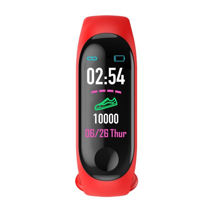 M3 Smart Bluetooth Fitness Bracelet Activity Heart Rate Sensor Silicone LED Watch - Red