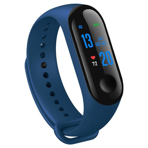 M3 Smart Bluetooth Fitness Bracelet Activity Heart Rate Sensor Silicone LED Watch - Blue