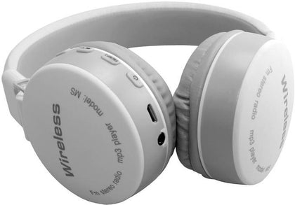 MS-881A Bluetooth Wireless Fully Dolby Headphones for PC And All Smartphones - White,Grey