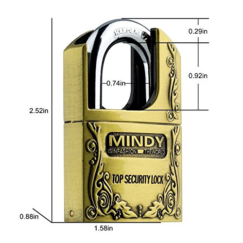Mindy Stainless Steel Top Security Lock - Gold
