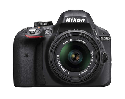 Nikon D3300 24.2 MP CMOS Digital SLR with Auto Focus-S DX Nikkor 18-55mm f/3.5-5.6G VR II Zoom Lens (Black), 16GB Card and Camera Bag