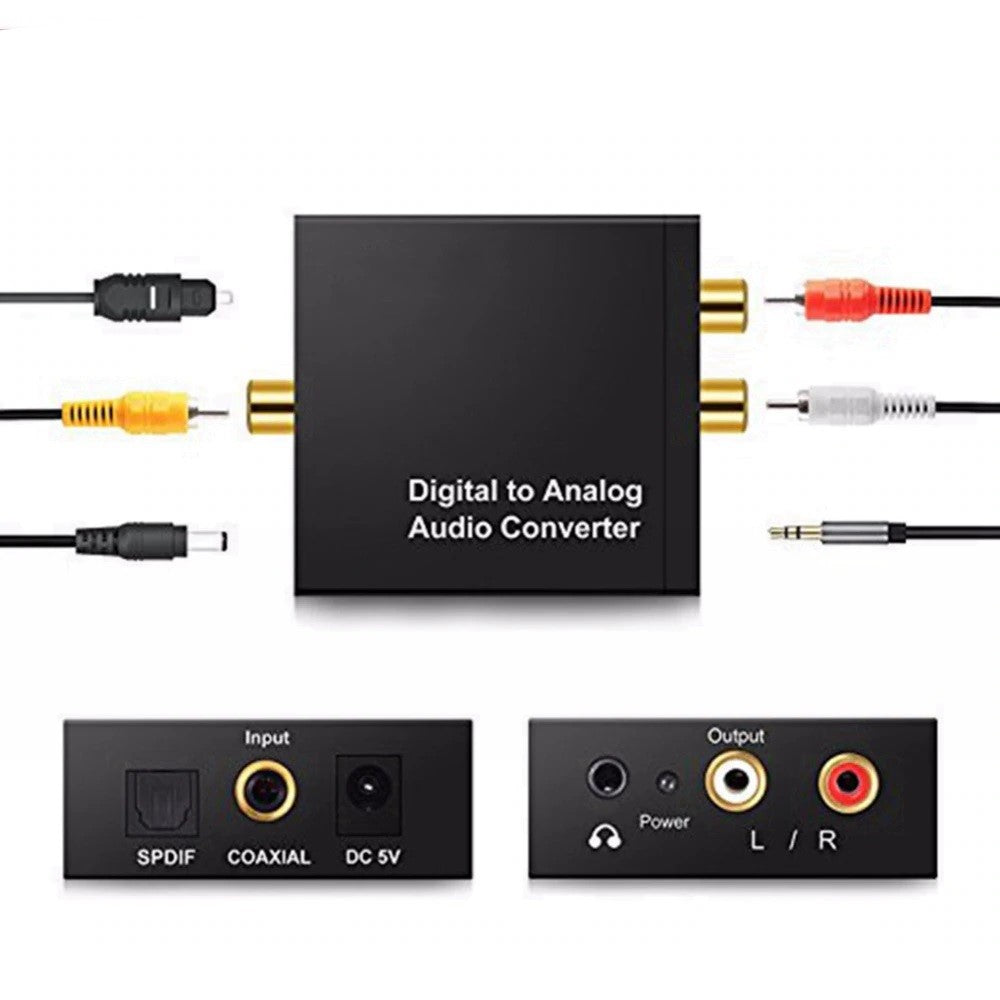 Optical Coaxial Digital to Analog Audio Converter Adapter RCA R/L Cable - Black