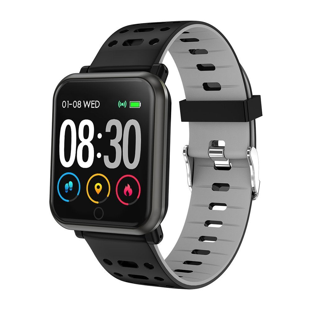 P11 Smart Watch Fitness Tracker Heart Rate Blood Pressure Sleep Bracelet - Black,Grey