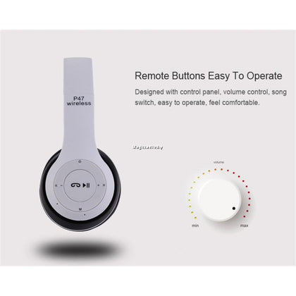 Generic P47 Bluetooth 4.2 Headphone Wireless Earphone Hands Free Music Headset - White