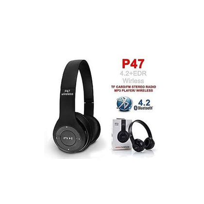Generic P47 Bluetooth 4.2 Headphone Wireless Earphone Hands Free Music Headphones - Black