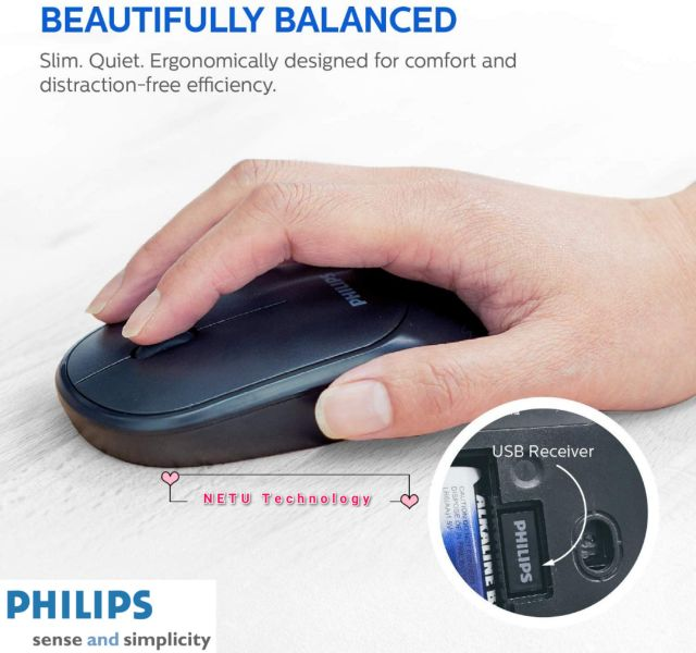 PHILIPS 2.4G Wireless 3 Button Optical Mouse, SPK7314 - Black