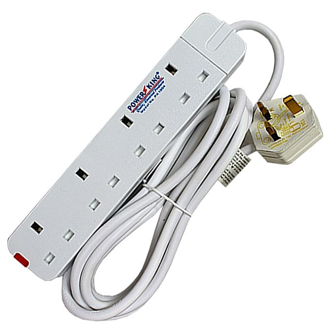 Original  Power King PK-1004 4-Way Extention, 3,Mtr Cable - White