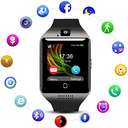 Q18 Smart Touch Screen TF Card Sim Camera Activity Tracker Fitness Sports Watch - Black