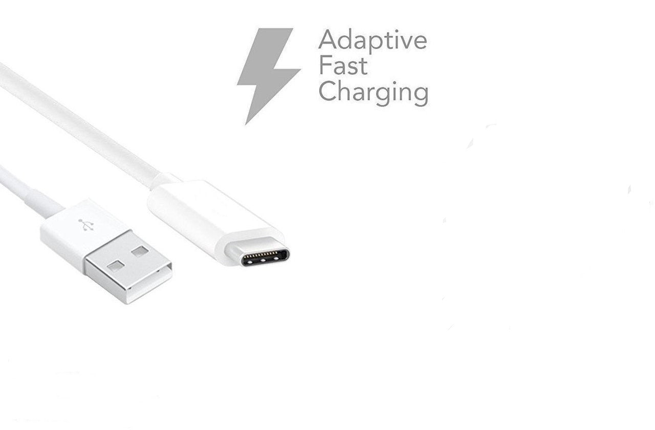 Samsung Adaptive Fast Charging USB Wall Charger with USB-C Cable for Samsung Galaxy S8 S9 Plus Note 8 - Non-Retail Packaging - White