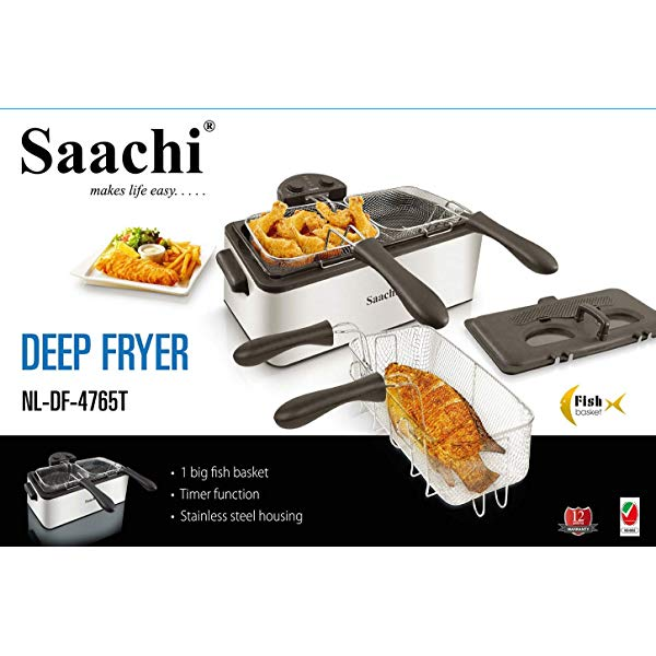 Saachi Deep Fryer NL-DF-4765T-ST With An Adjustable Thermostat - Silver