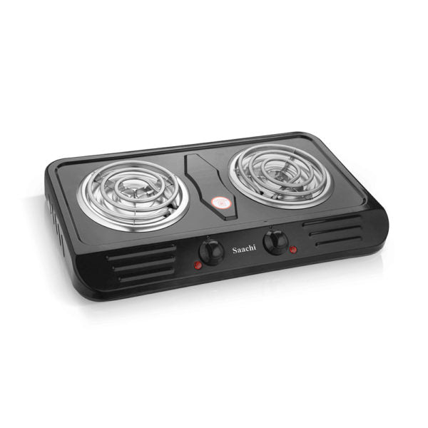 Saachi Double Burner Hot Plate NL-HP-6217C-BK with Overheat Protection - Black