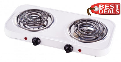 2500W Electric Portable Double Hot Plate 2 Twin Ring Hob Table Top Cooker - White