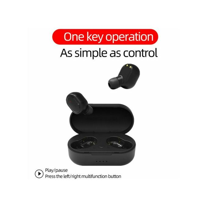 TWS Mini Bluetooth 5.0 Wireless  Portable Sound Headsets Earbuds With Magnetic Charging Case - Black