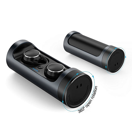 TWS-BS01 True Wireless IPX5 Sweatproof Sports Bass Earbuds With Rotating Charging Case - Black