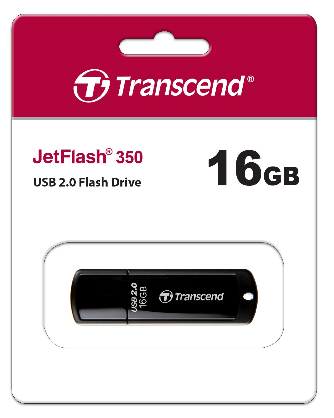 Transcend JetFlash 350 16GB USB Flash Drive - Black