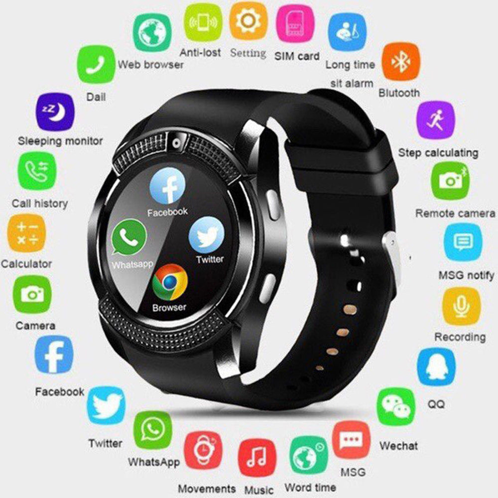 Smartwatch V8 Round Screen IP65 Bluetooth Smart Watch with Sim Toolkit - Black