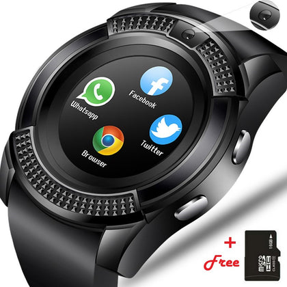 Smartwatch V8 Round Screen IP65 Bluetooth Smart Watch with Sim Toolkit(Black) + Free 16GB Micro Memory Card - Black
