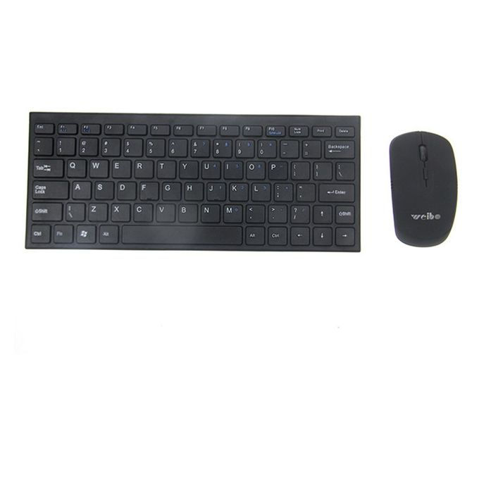 Weibo Ultra Slim Wireless Keyboard and Mouse Combo - Black