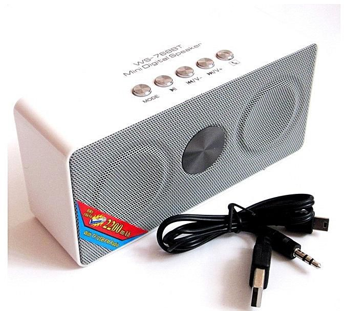 Wster WS768BT Wireless Bluetooth Portable Speaker With FM,USB & SD Slots - White