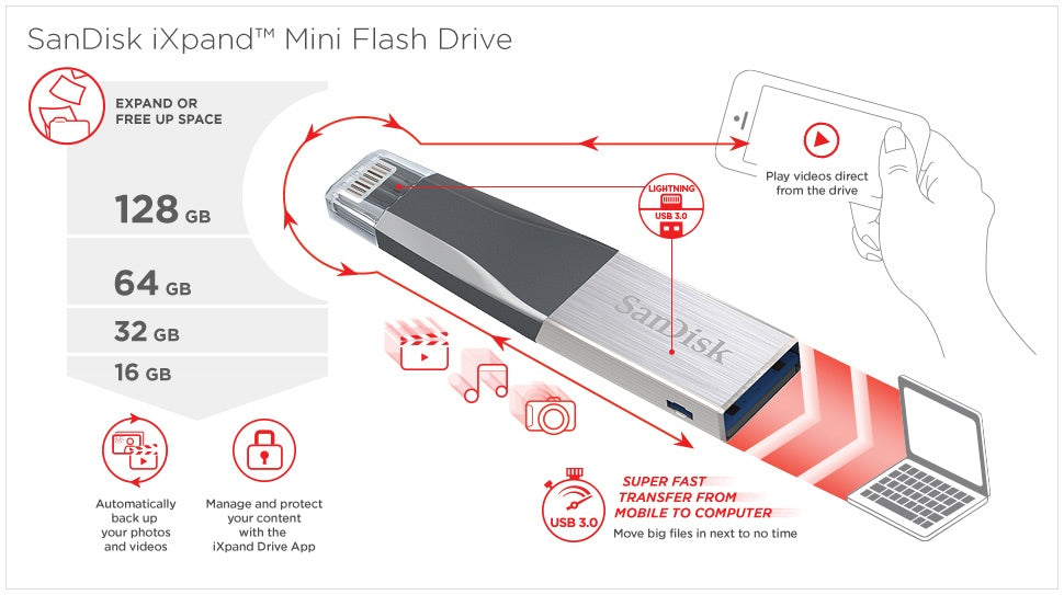 SanDisk iXpand 64GB Mini Flash Drive  - Silver
