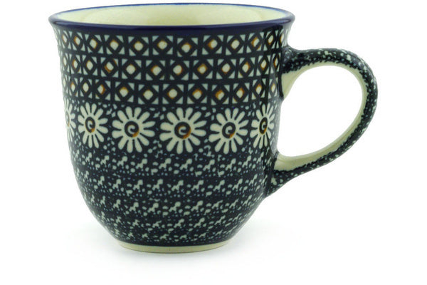 8 oz Curved Mug, Daisy on Black