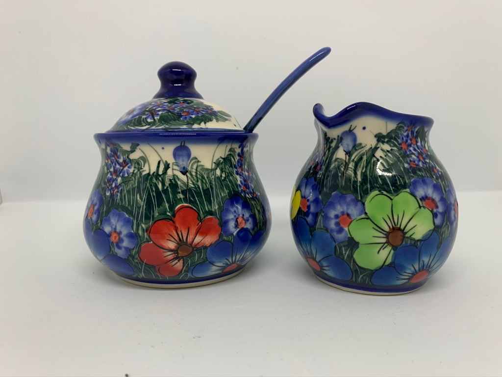 7 oz Unikat Sugar Bowl and Spoon Set (3 Pieces), Daisy Meadow