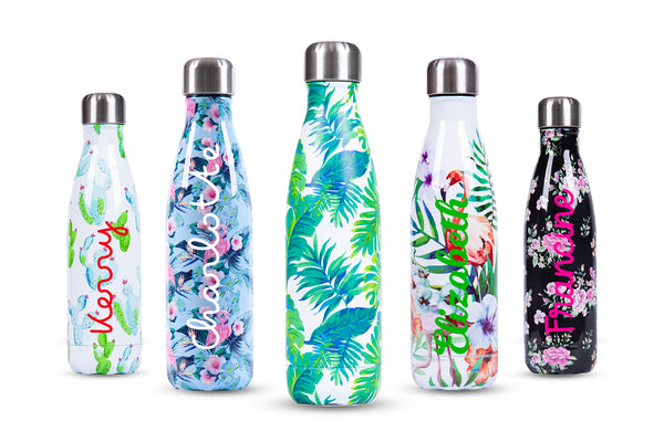 Floral Stainless Steel Bottle (500ml) - Personalised Island