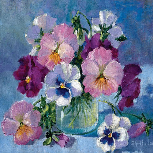 Pansies in Glass Jar