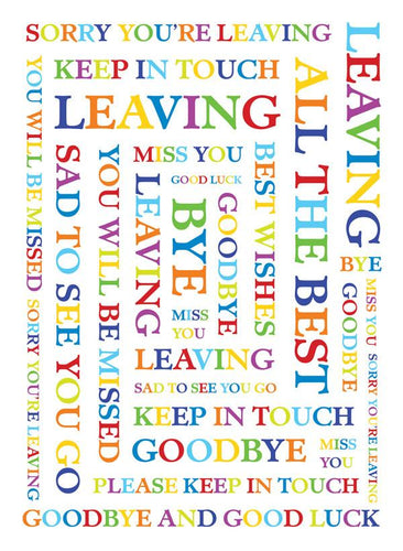 Leaving, Multi colour Words [XL Card]