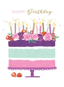Birthday, Flower topped Cake [XL Card]