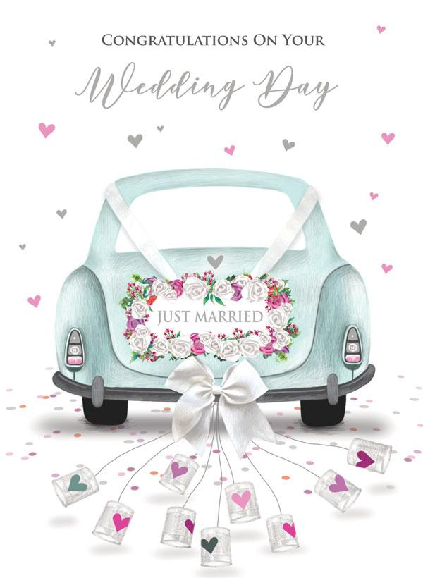 Wedding, Car and Cans [XL Card]