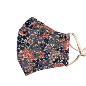 Cotton Face Mask:Blue Floral