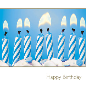 Happy Birthday / blue candles in cake