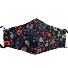 Load image into Gallery viewer, Cotton Face Mask:Dark Blue Floral
