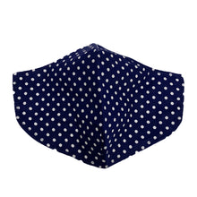 Load image into Gallery viewer, Cotton Face Mask : Navy Polka Dot