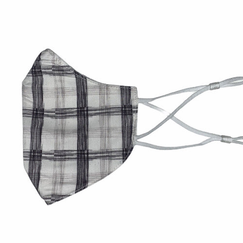Cotton Face Mask : White and Grey Plaid